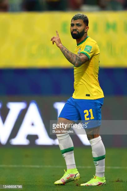 Gabriel Barbosa of Brazil reacts as VAR checks after scoring the fourth goal of his team during a match between Brazil and Uruguay as part of South...
