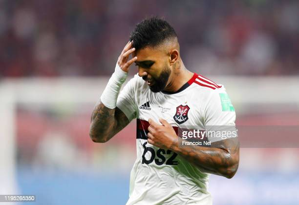 Gabriel Barbosa of CR Flamengo reacts during the FIFA Club World Cup Qatar 2019 Final between Liverpool FC and CR Flamengo at Education City Stadium...