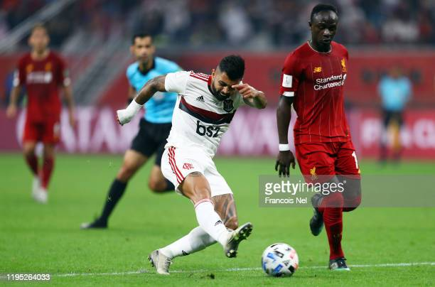 Gabriel Barbosa of CR Flamengo shoots during the FIFA Club World Cup Qatar 2019 Final between Liverpool FC and CR Flamengo at Education City Stadium...
