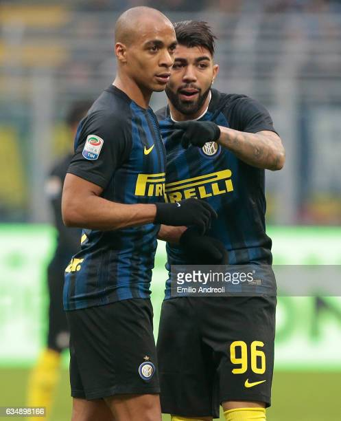 Gabriel Barbosa of FC Internazionale Milano speaks with his teammate Joao Mario during the Serie A match between FC Internazionale and Empoli FC at...