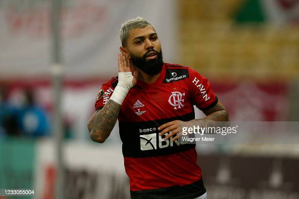 Gabriel Barbosa of Flamengo celebrate his goal during the second leg final of Campeonato Carioca 2021 between Flamengo and Fluminense at Maracana...