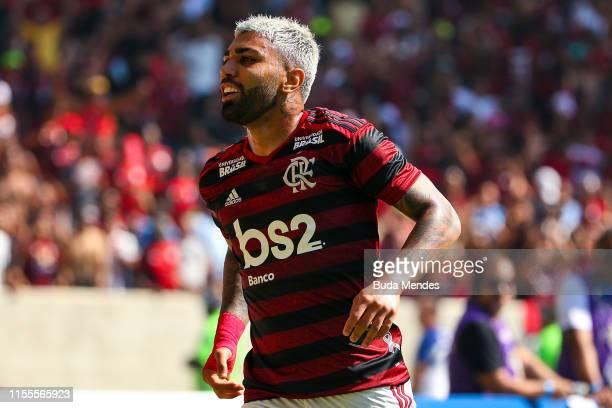Gabriel Barbosa of Flamengo celebrates a scored goal during a match between Flamengo and Goias as part of Brasileirao Series A 2019 at Maracana...