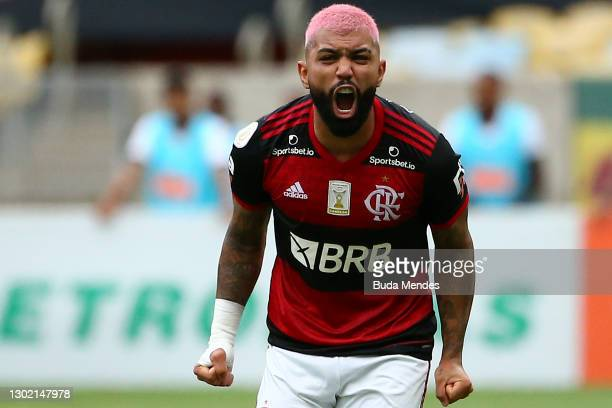 Gabriel Barbosa of Flamengo celebrates after scoring a goal during a match between Flamengo and Corinthians as part of 2020 Brasileirao Series A at...