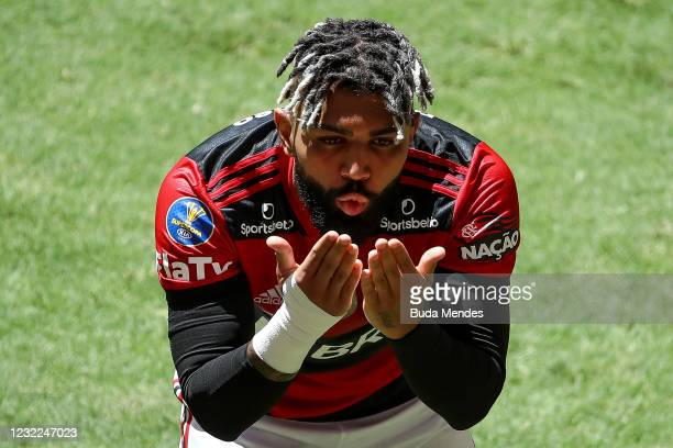Gabriel Barbosa of Flamengo celebrates after scoring a goal during the match between Flamengo and Palmeiras as part of the Supercopa do Brasil 2021...