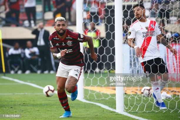 Gabriel Barbosa of Flamengo celebrates after scoring his side's first goal during the final match of Copa CONMEBOL Libertadores 2019 between Flamengo...
