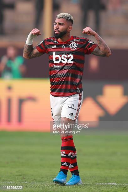 Gabriel Barbosa of Flamengo celebrates after scoring the equalizer during the final match of Copa CONMEBOL Libertadores 2019 between Flamengo and...
