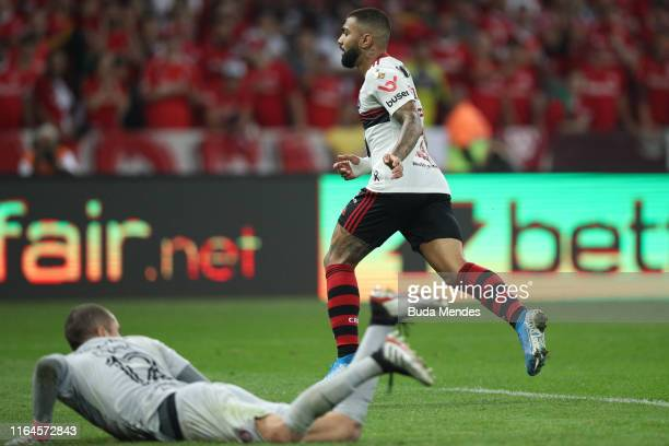 Gabriel Barbosa of Flamengo celebrates after scoring the first goal of his team during a match between Internacional and Flamengo as part of Copa...