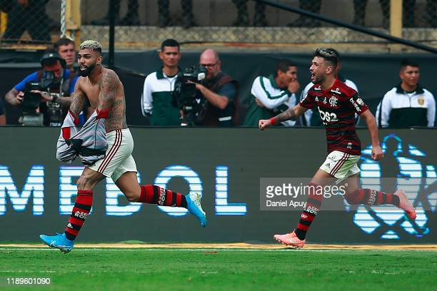 Gabriel Barbosa of Flamengo celebrates after scoring the second goal of his team during the final match of Copa CONMEBOL Libertadores 2019 between...