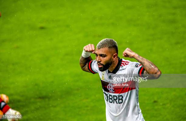 Gabriel Barbosa of Flamengo celebrates after scoring the second goal of his team during the match between Gremio and Flamengo as part of Brasileirao...