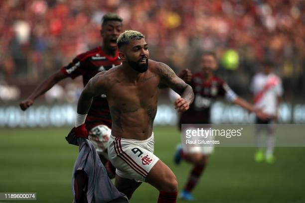 Gabriel Barbosa of Flamengo celebrates after scoring the the second goal of his team during the final match of Copa CONMEBOL Libertadores 2019...