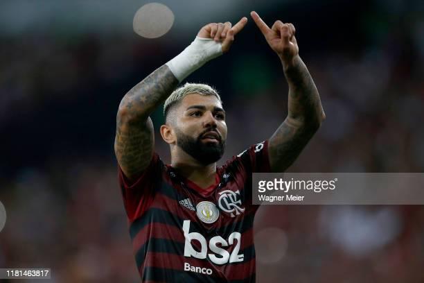 Gabriel Barbosa of Flamengo celebrates during a match between Flamengo and Bahia as part of Brasileirao Series A 2019 at Maracana Stadium on November...