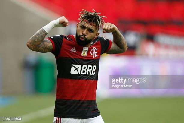 Gabriel Barbosa of Flamengo celebrates his goal during a match between Flamengo and Santos as part of 2020 Brasileirao Series A at Maracana Stadium...