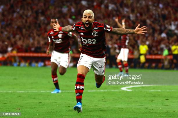 Gabriel Barbosa of Flamengo celebrates scoring his side's second goal during the Copa CONMEBOL Libertadores 2019 SemiFinal 2 match between Flamengo...