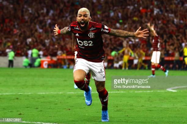 Gabriel Barbosa of Flamengo celebrates scoring his side's second goal during the Copa CONMEBOL Libertadores 2019 SemiFinal 2 match between Flamengo...