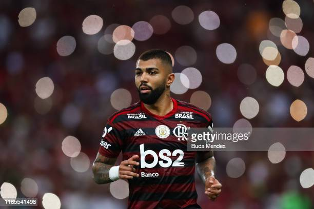 Gabriel Barbosa of Flamengo looks on during a match between Flamengo and Palmeiras as part of Brasileirao Series A 2019 at Maracana Stadium on...