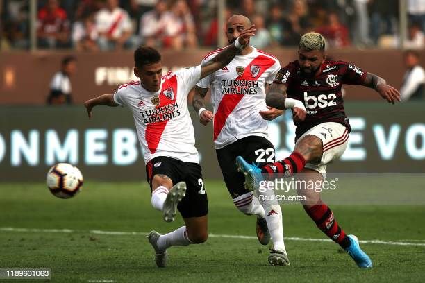 Gabriel Barbosa of Flamengo scores the the second goal of his team during the final match of Copa CONMEBOL Libertadores 2019 between Flamengo and...