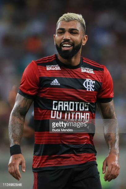 Gabriel Barbosa of Flamengo smiles during a match between Flamengo and Fluminense as part of State Championship SemiFinal 2019 at Maracana Stadium on...