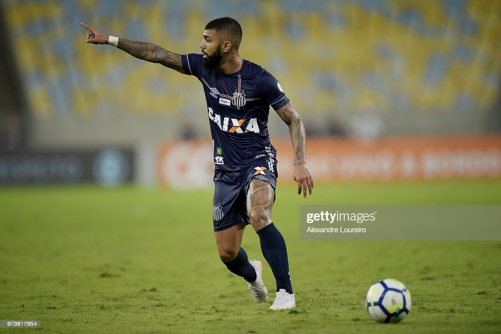 Gabriel Barbosa of Santos reacts during the match between Fluminense and Santos as part of Brasileirao Series A 2018 at Maracana Stadium on June 13, 2018 in Rio de Janeiro, Brazil.
