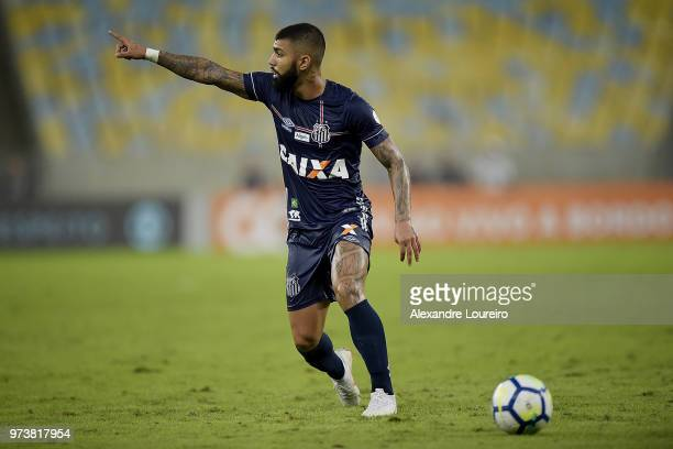 Gabriel Barbosa of Santos reacts during the match between Fluminense and Santos as part of Brasileirao Series A 2018 at Maracana Stadium on June 13...
