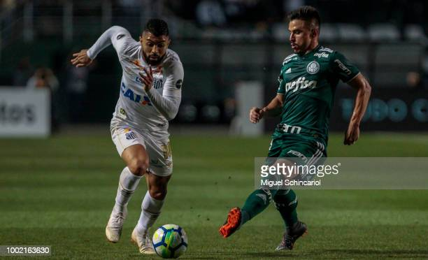 Bruno Henrique of Palmeiras conducts the ball during a match between Santos and Palmeiras for the Brasileirao Series A 2018 at Pacaembu Stadium on...