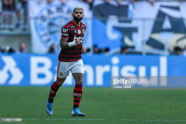 Gabriel Barboza of Flamengo celebrates their first goal during the match between Gremio and Flamengo as part of Brasileirao Series A 2019 at Arena do...