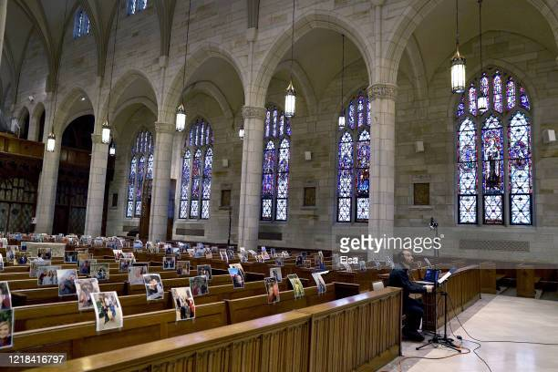 Gabriel Baseman runs the livestream of Easter Sunday Mass on April 12 2020 at Our Lady of Sorrows Catholic Church in South Orange New Jersey Amidst...