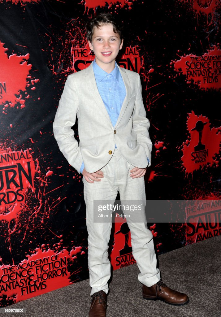 Gabriel Bateman poses in the press room at the Academy Of Science Fiction, Fantasy & Horror Films' 44th Annual Saturn Awards at The Castaway on June 27, 2018 in Burbank, California.