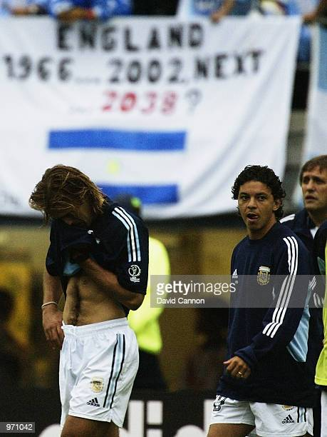 Gabriel Batistuta and Marcelo Gallardo of Argentina distraught after the Argentina v Sweden Group F World Cup Group Stage match played at the Miyagi...