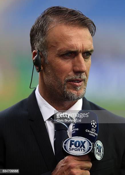 Gabriel Batistuta looks on during a training session on the eve of the UEFA Champions League Final at Stadio Giuseppe Meazza on May 27 2016 in Milan...