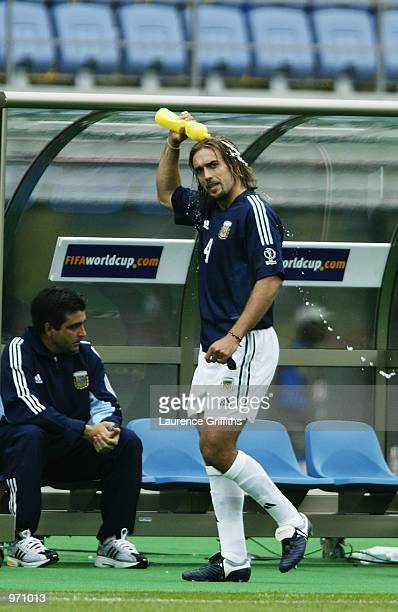 Gabriel Batistuta of Argentina is substituted during the Argentina v Sweden Group F World Cup Group Stage match played at the Miyagi Stadium Miyagi...