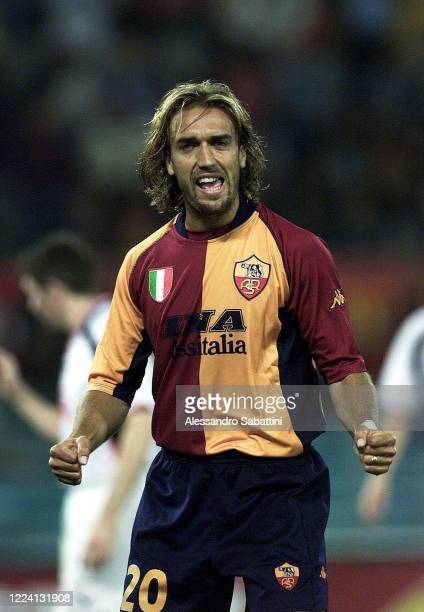 Gabriel Batistuta of AS Roma celebrates after scoring the goal during the Serie A 2001-02, Italy.