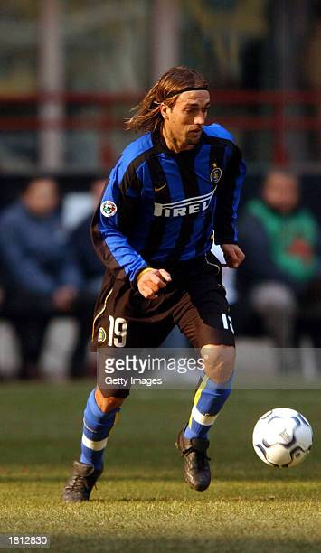 Gabriel Batistuta of Inter Milan in action during the Serie A match between Inter Milan and Piacenza played at the 'Giuseppe Meazza' San Siro Stadium...