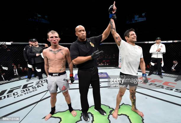 Gabriel Benitez of Mexico celebrates his victory over Jason Knight in their featherweight bout during the UFC Fight Night event inside Save Mart...