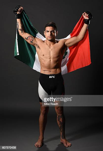 Gabriel Benitez of Mexico poses for a post fight portrait backstage during the UFC Fight Night event at State Farm Arena on September 17 2016 in...