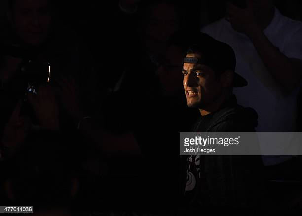 Gabriel Benitez of Mexico prepares to enter the Octagon before facing Clay Collard of the United States in their featherweight bout during the UFC...
