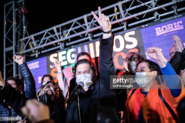 Gabriel Boric addresses the citizens from his headquarters after receiving the news of his victory with more than 60% of the votes. Gabriel Boric,...