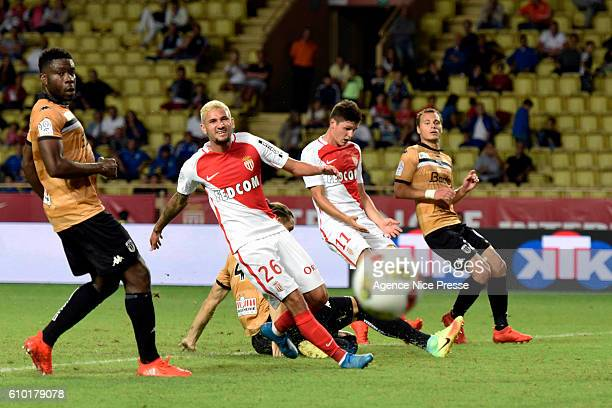 Gabriel Boschilia and Guido Carrillo of Monaco during the Ligue 1 match between AS Monaco and Angers SCO at Louis II Stadium on September 24 2016 in...