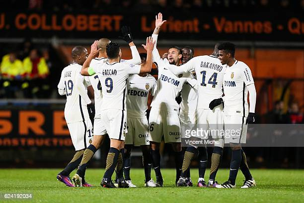 Gabriel Boschilia jubilates with teammates after scoring the third goal during the Ligue 1 match between Fc Lorient and As Monaco at Stade du...