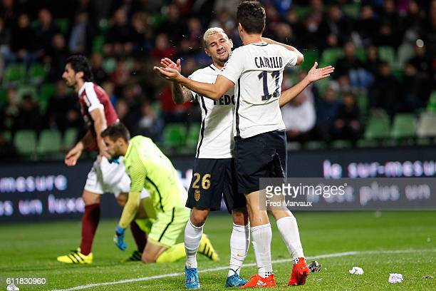 Gabriel Boschilia of Monaco and Guido Carrillo of Monaco celebrates scoring his goal during the Ligue 1 match between FC Metz and AS Monaco at Stade...