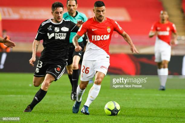 Gabriel Boschilia of Monaco and Quentin Cornette of Amiens during the Ligue 1 match between AS Monaco and Amiens SC at Stade Louis II on April 28...