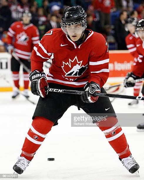 Gabriel Bourque of Team Canada skates during the 2010 IIHF World Junior Championship Tournament Semifinal game against Team Switzerland on January 3...