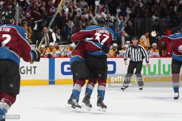 Gabriel Bourque of the Colorado Avalanche celebrates a goal against the Nashville Predators with teammate JT Compher in Game Three of the Western...