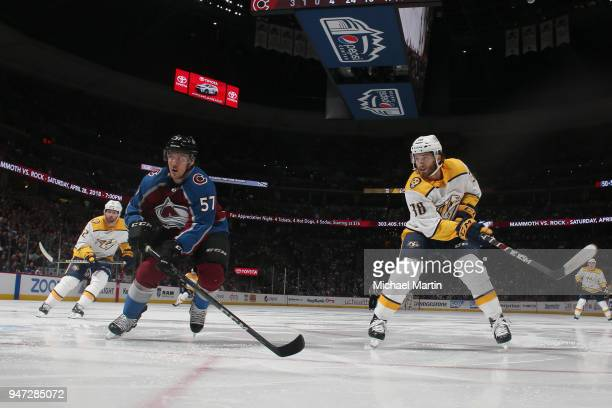 Gabriel Bourque of the Colorado Avalanche skates against Ryan Hartman of the Nashville Predators in Game Three of the Western Conference First Round...