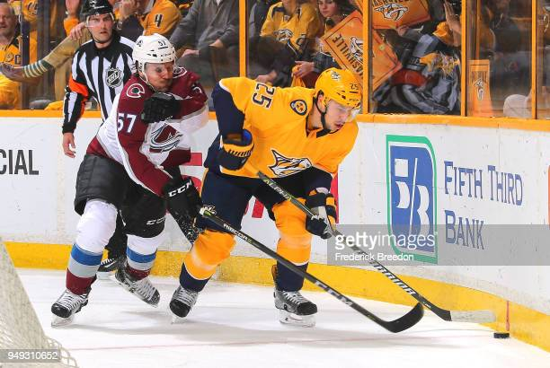 Gabriel Bourque of the Colorado Avalanche skates toward Alexei Emelin of the Nashville Predators during the first period in Game Five of the Western...