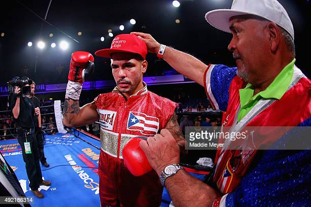 Gabriel Bracero celebrates his win over Danny O'Connor after their Welterweight bout on October 10, 2015 at Lowell Memorial Auditorium in Lowell,...