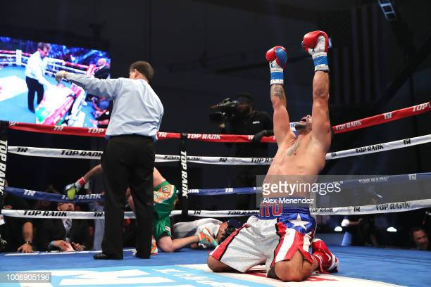 Gabriel Bracero of Puerto Rico celebrates his stoppage of Artemio Reyes during the undercard of the Christpher Diaz v Masayuki Ito ESPN boxing match...
