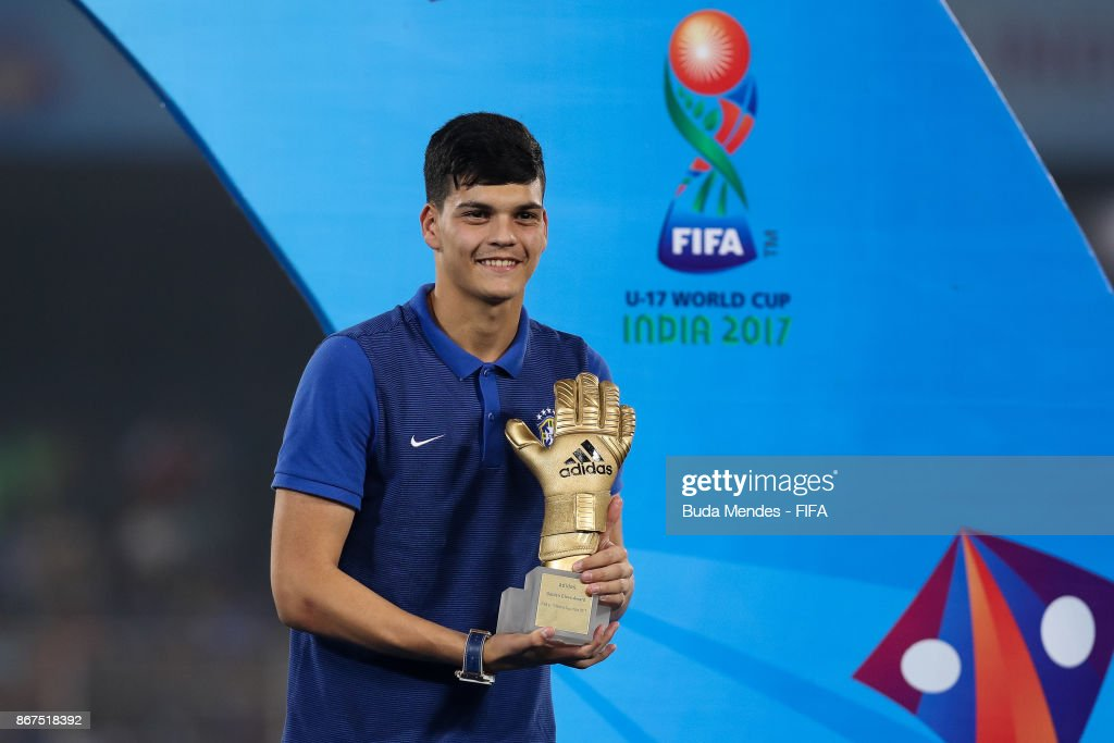 Gabriel Brazao of Brazil poses with adidas Golden Glove Trophy during the FIFA U-17 World Cup India 2017 Final match between England and Spain at Vivekananda Yuba Bharati Krirangan on October 28, 2017 in Kolkata, India.