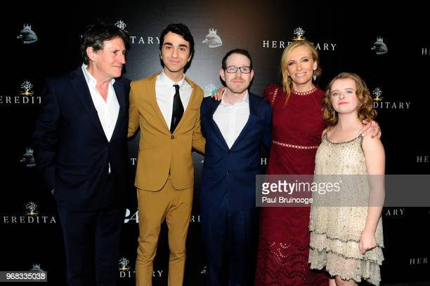 Gabriel Byrne Alex Wolff Ari Aster Toni Collette and Milly Shapiro attend A24 Hosts A Screening Of Hereditary at Metrograph on June 5 2018 in New...