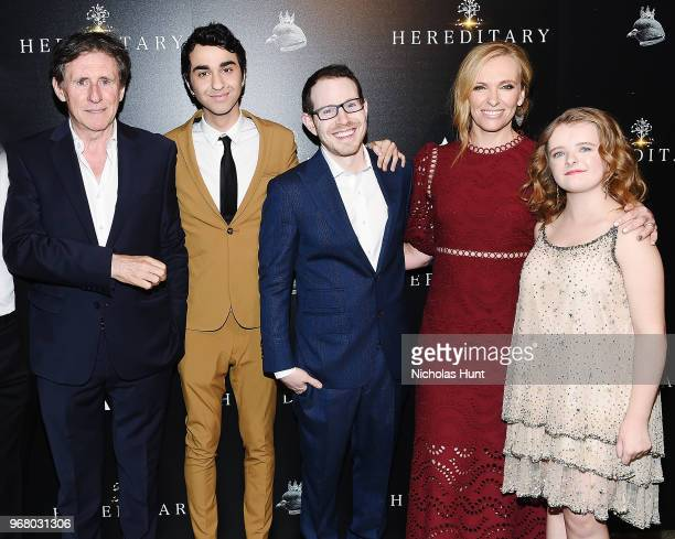 Gabriel Byrne Alex Wolff Director Ari Aster Toni Collette and Milly Shapiro attends the Hereditary New York Screening at Metrograph on June 5 2018 in...