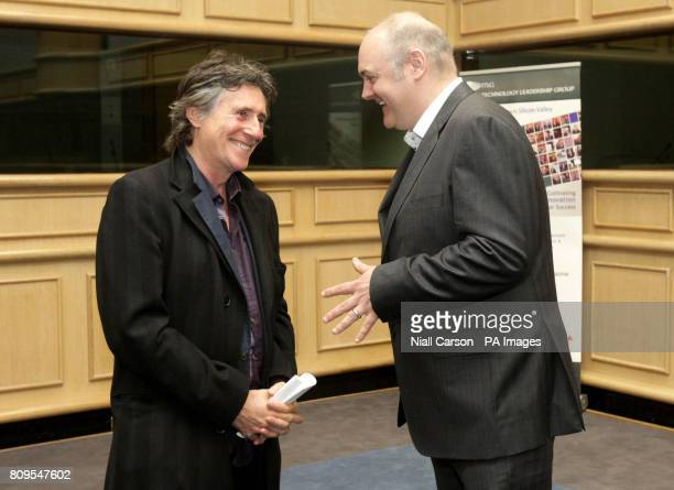 Gabriel Byrne and Dara O'Briain during the launch of the Worldirishcom social networking site at the second Global Irish Economic Forum at Dublin...